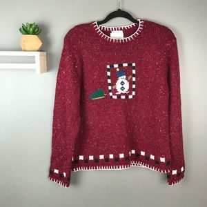 Christopher & Banks Snowman sled sweater red large